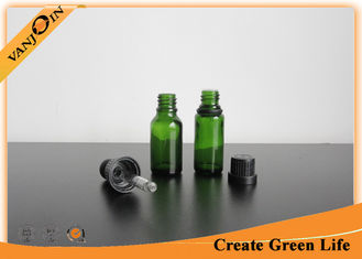 China Recycled 15ml Green Colored Essential Oil Glass Bottles With Dropper , Small Empty Glass Bottles supplier