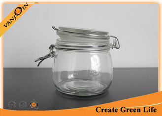 China 500ml Empty Round Glass Storage Jars with Lids , Clamp Glass Jar Food Storage Container supplier