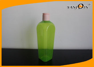 China 350ML Green Square Plastic Cosmetic Bottles / PET Shower Gel Lotion Bottle with Screw Cap supplier