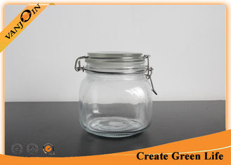 China 1 Liter Airtight Glass Storage Jars with Lids , Glass Jars with Glass Lids For Home Spice Storage supplier