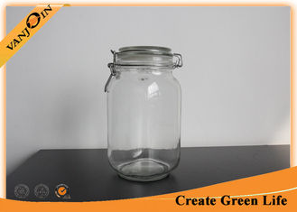 China 1.5 Liter Square Glass Storage Containers with Lids , Glass Spice Jars with Glass Lock Lid supplier
