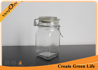 China Clear 250ml Square Glass Storage Jars with Lids , Small  Tea Coffee Sugar Storage Jars supplier