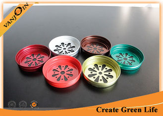 China Wholesale Colored 70mm Daisy Cut Lids For Mason Jar with Straw Hole , Multi Color supplier