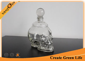 China 750ml Empty Skull Shape Decorative Glass Bottles with Cork ,  Glass Bottle for Liquor or Wine supplier