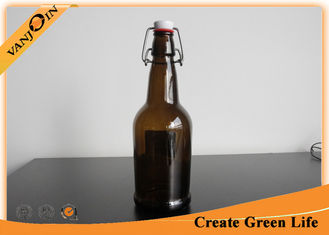 China Barware 500ml Brown Glass Wine Bottles / Glass Beer Bottles With Swing Top Cap supplier