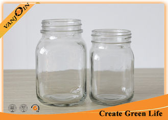 China Food Packing Square Shape 12oz 20oz Eco Mason Glass Jars With Lids supplier