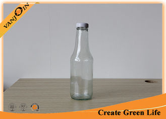 China Food Grade 350ml Clear Glass Sauce Bottles With Metal Twist Off Cap supplier