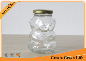China 250ml Bear Shape Glass Food Jars , Clear Glass Food Storage Jars With Twist Off Lids For Cookie supplier