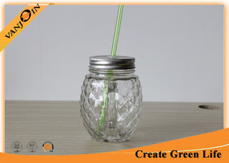 China Professional 16 oz Pineapple Shape Clear Mason Glass Drinking Jars With Handle supplier