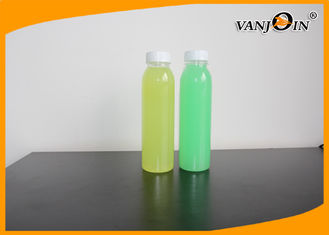 China Fresh Juice 350ml Round PET Plastic Bottle With White Tamper Proof Cap supplier