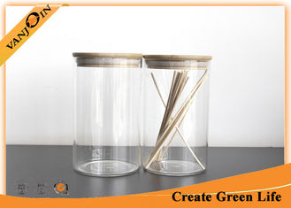 China Food Grade Glass Storage Jars With Lids , Eco Friendly Bamboo Storage Jars supplier