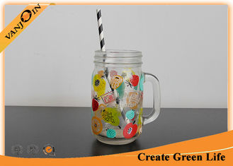 China Colored Logo Decaling 12 oz Kilner Glass Mason Jar with Handle / Straw supplier