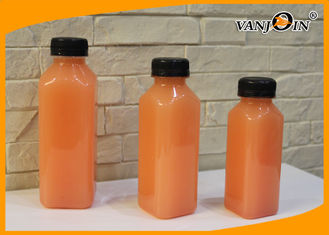 China 350ml 500ml Plastic French Square Juice Bottle For Cold Pressed Juice supplier