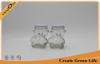 China Bear Shape Home Use 320ml Clear Glass Food Jars With Metal Screw Cap supplier