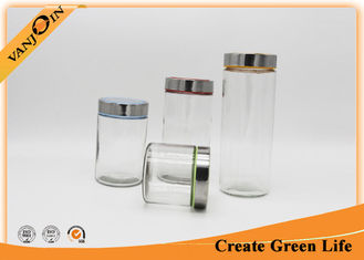 China 1.5L Straight Side Food Glass Storage Jars with Lids , Stainless and Plastic Lid supplier