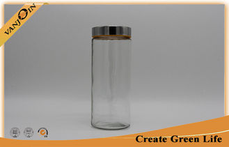 China 2000ml Clear glass kitchen storage jars Window Lid glass bottles and jars supplier