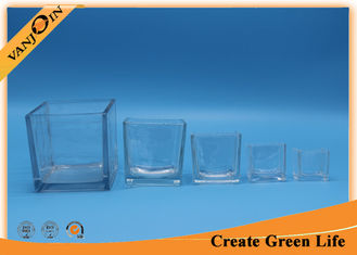 China Recycled decorative Crystal Square clear glass vases Family Sizes supplier