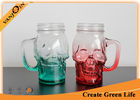 China 16oz Green and Red Color Skull Head Glass Drinking Mugs With Handle factory