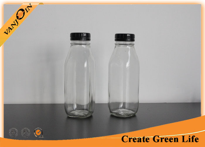 Custom Empty Clear 16oz Square Glass Milk Bottles Wholesale