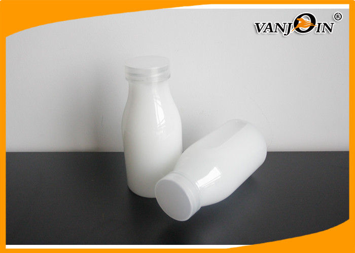 Oval Round Transparent PET Plastic Juice Bottles with Screw Caps for Milk or Beverage