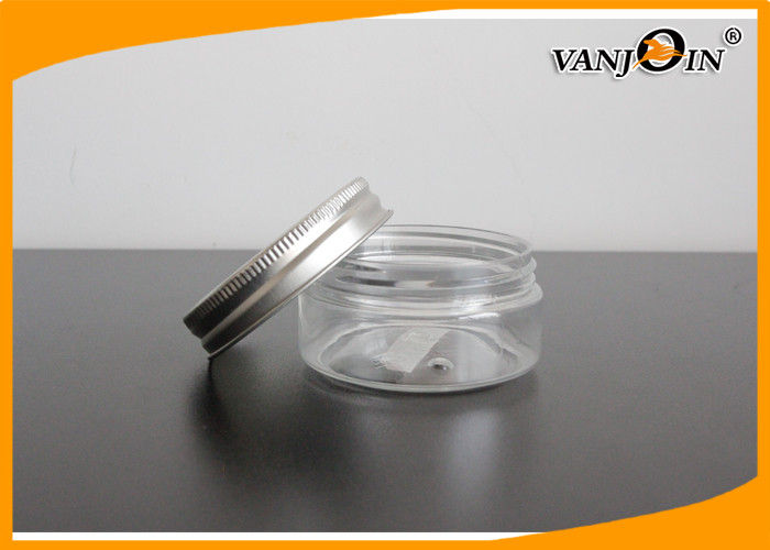 Empty Round Transparent PET Plastic Cream Jars with Aluminum Caps120g , Custom Color