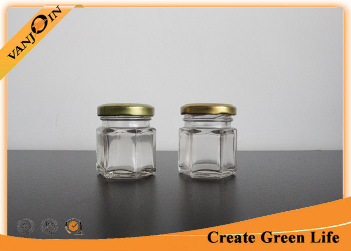 15oz Hexagon Glass Food Storage Containers With Gold Metal Lid