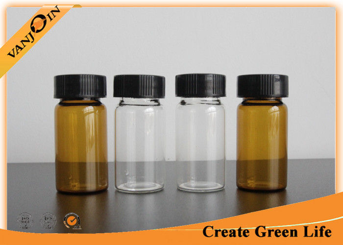0e9b59fe5fc9 20ml Clear Or Amber Empty Small Glass Vials With Plastic Screw Cap ...