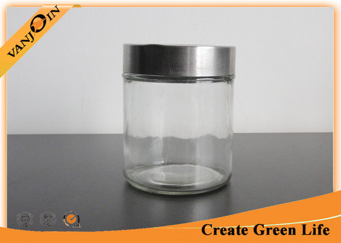 500ml Cylinder Airtight Glass Storage Jars With Stainless Steel Lid