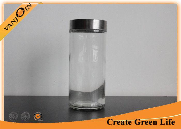 ml Large Cylinder Glass Storage Jars with Lids Screw Metal Lid