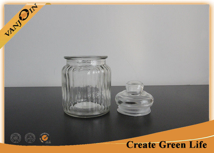 Household 250ml Clear Glass Kitchen Storage Jars With Glass Lids For Tea /  Coffee / Sugar