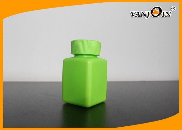 Green Square 100ml Plastic Pharmacy Bottles , Small Plastic
