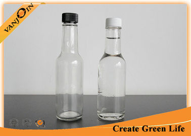 Clear 5oz Woozy Glass Sauce Bottles With Orifice Reducer and Plastic Screw Cap