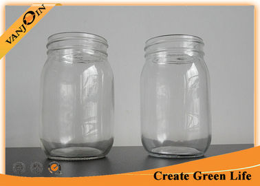 High Fint 16oz Clear Eco Mason Glass Jars / Tin Lid Glass Mason Jar For Food Storage