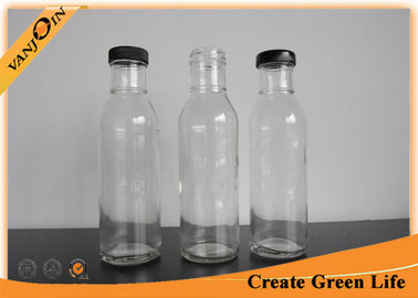 Clear 12oz Glass Sauce Bottles With Lid , Sealable Glass Pepper Sauce Bottles