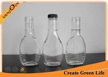 Eco-friendly Food Grade Glass Sauce Bottles for Powder Drugs / Spicy 8oz With Black Plastic Lid