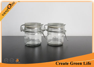Cylinder 100ml Glass Storage Containers with Glass Lids , Glass Storage Jars for Kitchen