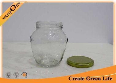 Clear 314ml Orcio Glass Food Jars Gold Metal Twist Off Lid For Jam