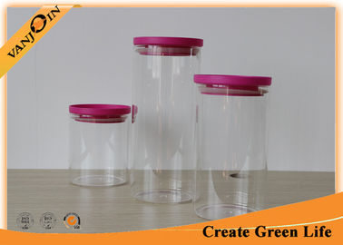 Plastic Cork Cap Tubular Cylinder Glass Storage Jars With Lids Custom