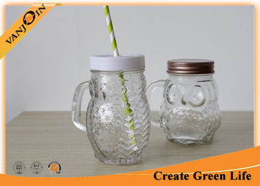 400ml Clear Glass Owl Mason Drinking Jars with Screw Lid and Straw
