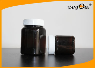350g Amber Square Plastic Jar With Screw Cap , Medicine Package Bottle