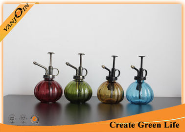 Sprayed Pumpkin Shaped Glass Storage Jars with Lids , Glass Watering Can For Potted Plant